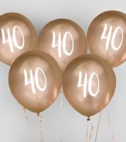 "Metallic-Luftballons ""40"" - gold - 5 Stück"
