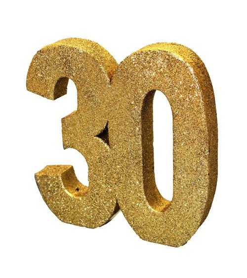 "Tischdeko Zahl ""30"" - glitter gold - 20 cm"