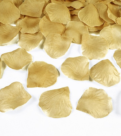 Rosenblätter aus Stoff - gold metallic - 100 Stück