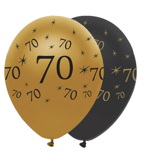 "Luftballon-Set ""70"" - schwarz/gold - 6 Stück"
