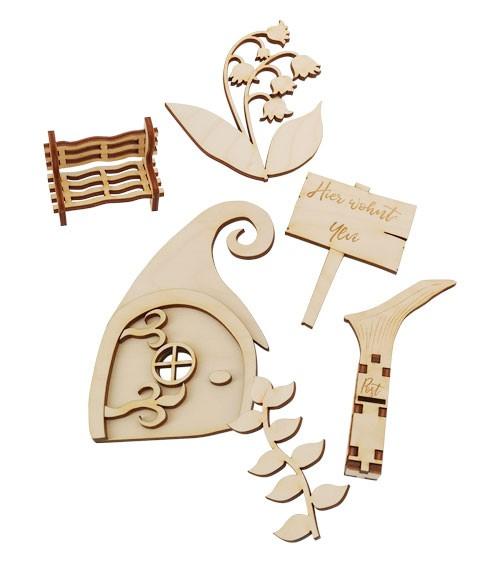 DIY Feentüren-Set aus Holz mit Namensgravur - 6-teiig