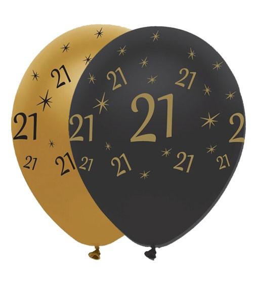 "Luftballon-Set ""21"" - schwarz/gold - 6 Stück"