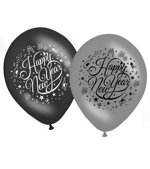 """Luftballon-Set """"Happy New Year"""" - schwarz/silber - 8 Stück"""