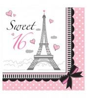 """Servietten """"Party in Paris"""" - Sweet 16 - 18 Stück"""
