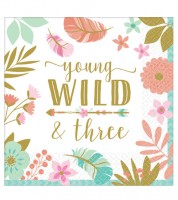 "Servietten ""Boho Birthday Girl"" - Young, Wild & Three - 16 Stück"