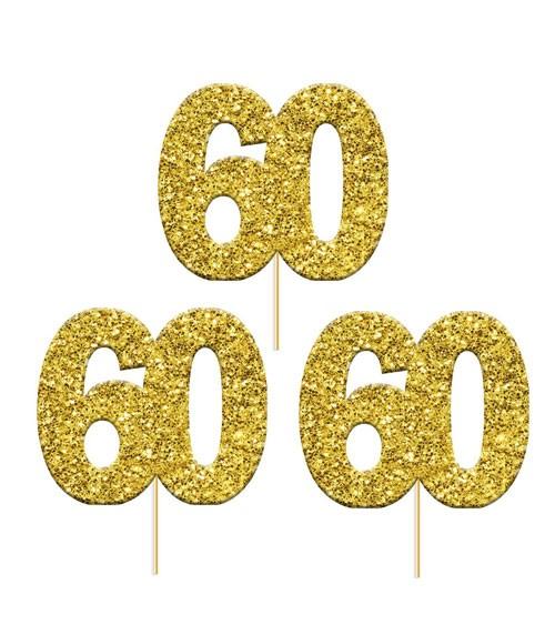 "Cupcake-Topper Zahl ""60"" - glitter gold - 12 Stück"