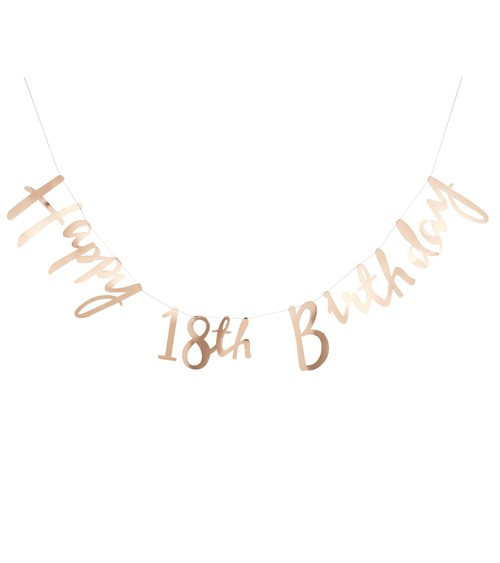 "Goldene ""Happy 18th Birthday""-Girlande - 1,5 m"