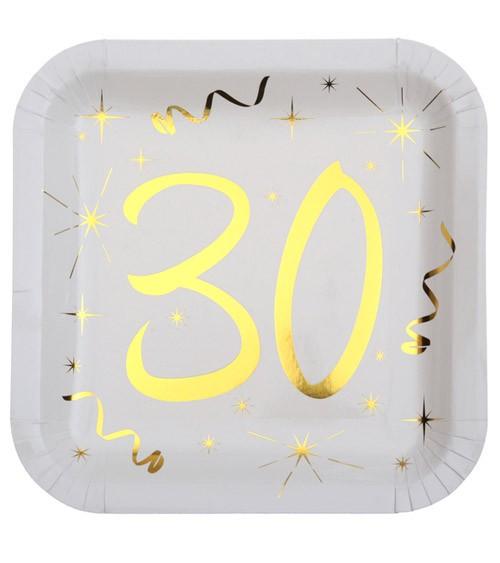 """Viereckige Pappteller """"30"""" - weiß, gold - 10 Stück"""
