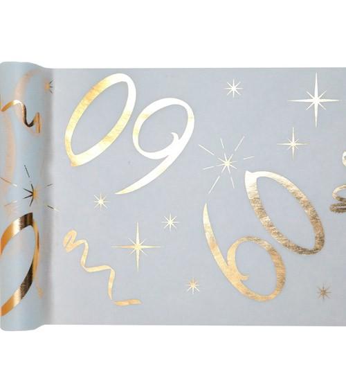 """Tischläufer aus Vlies """"60"""" - weiß, gold - 30 cm x 5 m"""