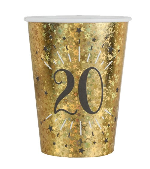 """Pappbecher """"Sparkling Gold"""" - 20. Geburtstag - 10 Stück"""