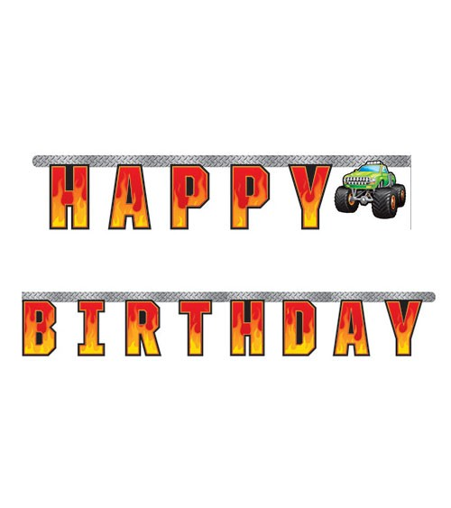 "Happy Birthday Girlande ""Monster Truck Show"" - 3,05 m"