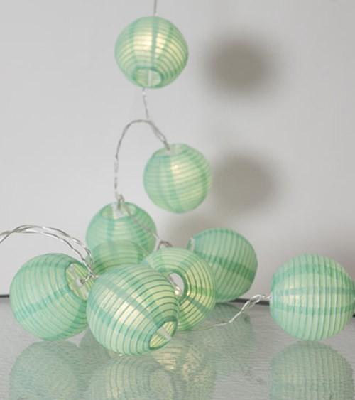"""LED-Lichterkette """"Papierlampion"""" - mint - 1,35 m"""