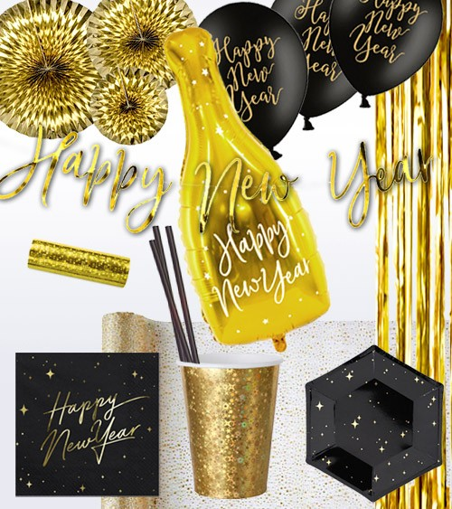 "Silvester-Deko-Set ""Happy New Year"" - schwarz & gold - 52-teilig"
