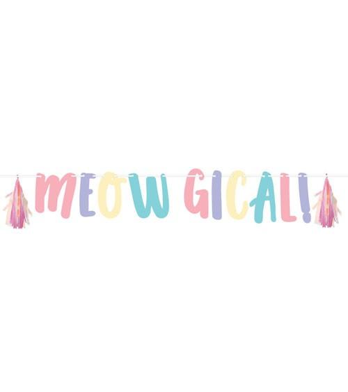 """Schriftzuggirlande mit irisierenden Tasseln """"Meowgical!"""" - 1,37 m"""