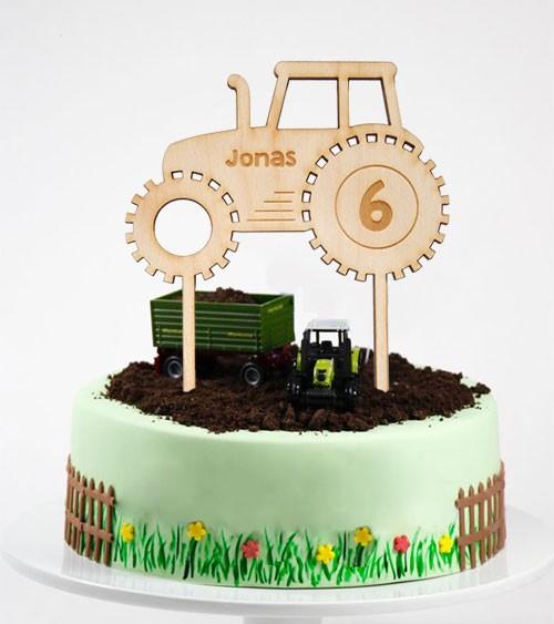 """Dein Cake-Topper """"Traktor"""" aus Holz - Wunschtext"""