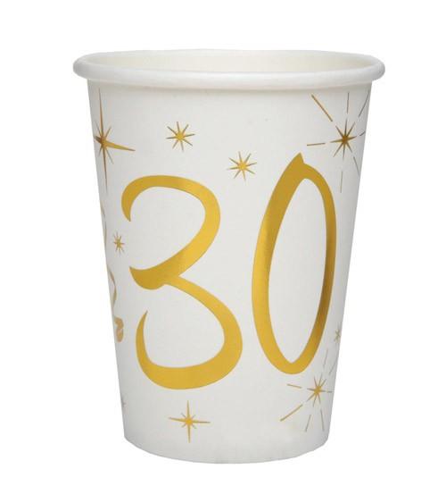 "Pappbecher ""30"" - weiß, gold - 10 Stück"