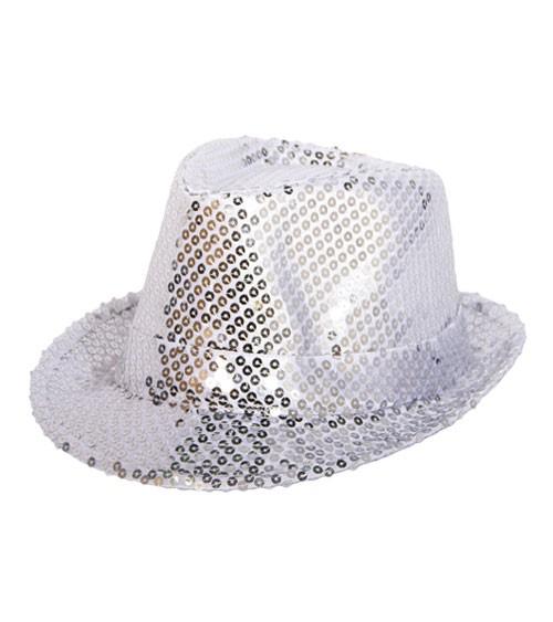 Trilby-Hut mit Pailletten - silber