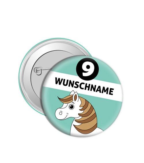 "Dein Button ""Pferd"" - Wunschtext"