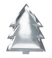 Tannenbaum-Pappteller - silber - 6 Stück