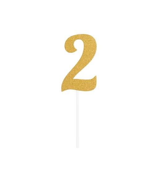 "Kuchen-Topper-Zahl aus Pappe ""2"" - glitter gold - 4,5 x 8 cm"