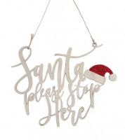 "Türschild aus Holz ""Santa Please Stop Here"" - 25 x 20 cm"