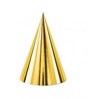 Partyhüte - metallic gold - 6 Stück