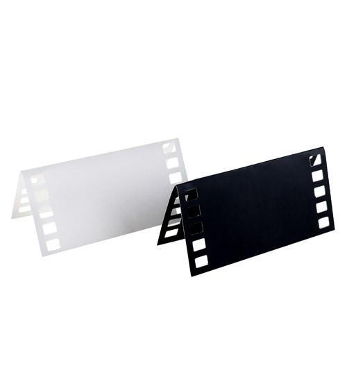 Platzkarten-Set Filmrolle - weiß, schwarz - 10 Stück