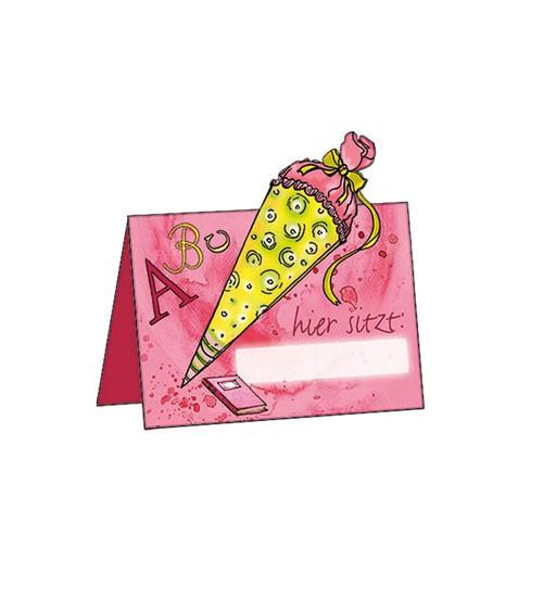 """Platzkarten """"Einschulung - rosa"""" - 6 Stück"""
