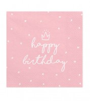 "Servietten ""happy birthday"" - rosa - 20 Stück"