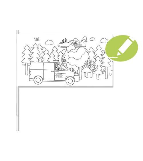 """Papierflaggen zum Ausmalen """"Feuerwehr"""" - 8 Stück"""