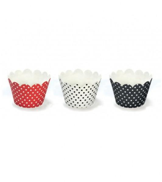 Cupcake-Wrapper mit Punkten - rot-weiß-schwarz - 6 Stück