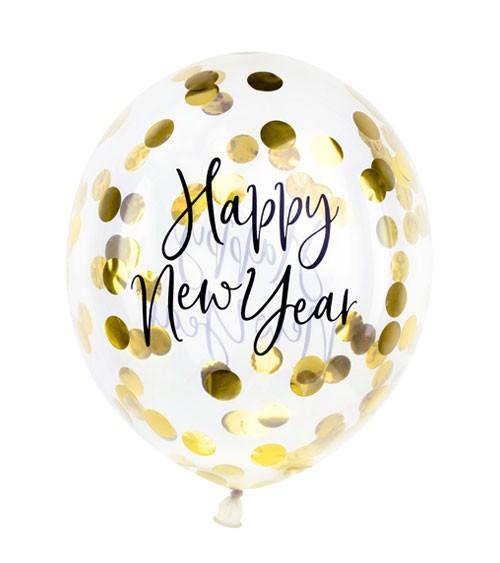 "Konfetti-Ballons ""Happy New Year"" - gold - 30 cm - 3 Stück"