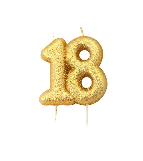 """Geburtstagskerze mit Glitter """"18"""" - gold"""
