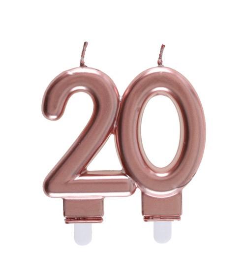 """Geburtstagskerze """"20"""" - rosegold - 7,5 x 7 cm"""