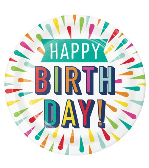 "Pappteller ""Birthday Colours"" - Happy Birthday - 8 Stück"