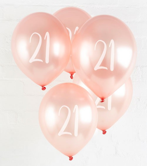 "Metallic-Luftballons ""21"" - rosegold - 5 Stück"