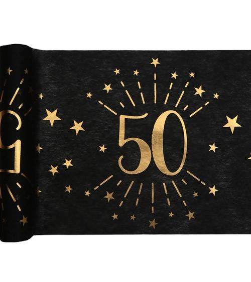 """Tischläufer """"Sparkling Gold"""" - 50. Geburtstag - 30 cm x 5 m"""