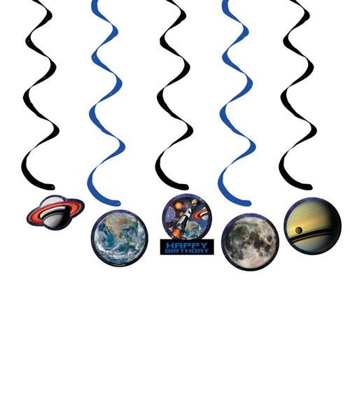 """Spiralgirlanden """"Weltraum"""" - 5 Stück"""
