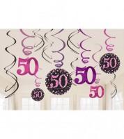 """Spiralgirlanden """"Sparkling Pink"""" - 50. Geburtstag - 12 Stück"""