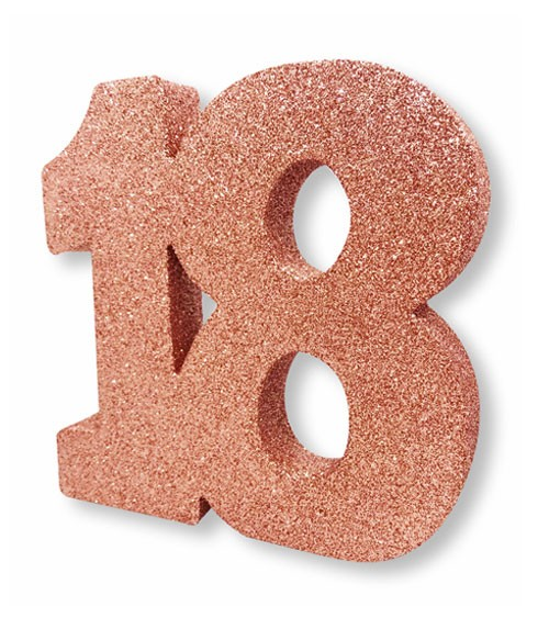 "Tischdeko Zahl ""18"" - glitter rosegold"