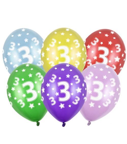 "Metallic-Luftballons ""3"" mit Sternen - 6 Stück"