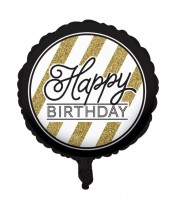 "Runder Folienballon ""Black & Gold"" - Happy BIRTHDAY"