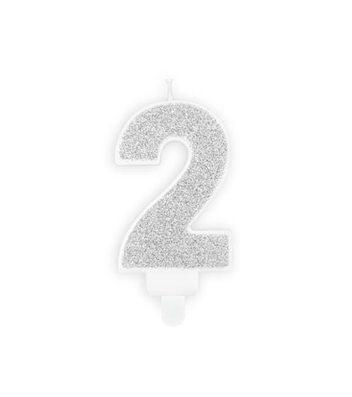 "Zahlenkerze mit Glitter ""2"" - silber - 7 cm"