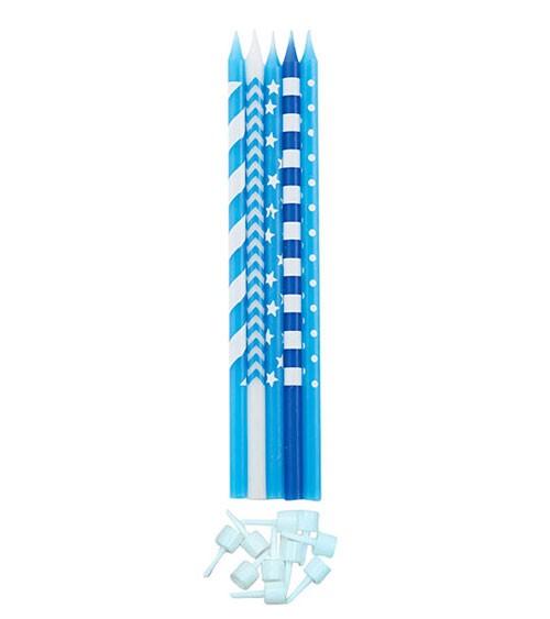 Lange Kuchenkerzen - Farbmix Blau - 15,5 cm - 10 Stück