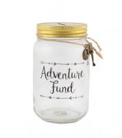 "Spardose aus Glas ""Adventure Fund"""