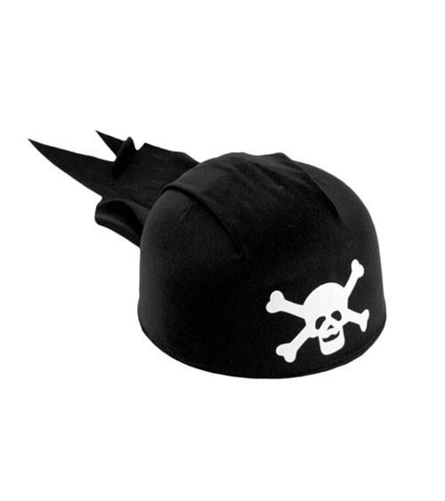 Schwarze Piratenkappe mit Totenkopf
