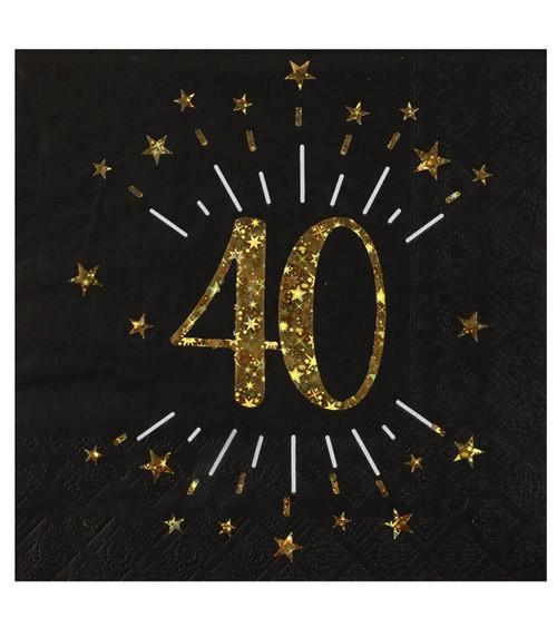 """Servietten """"Sparkling Gold"""" - 40. Geburtstag - 10 Stück"""