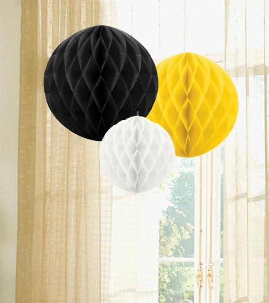 Wabenball Set - schwarz, gelb, weiß - 3-teilig