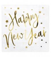 """Servietten """"Happy New Year"""" - weiß/gold - 20 Stück"""