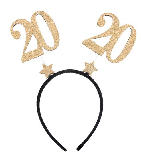 """Haarreif mit Zahlen """"20"""" - glitter gold"""